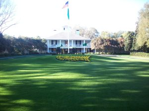 The clubhouse and familiar U.S. flower garden