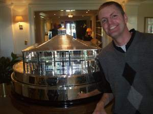 Me, in the clubhouse, with the Masters championship trophy